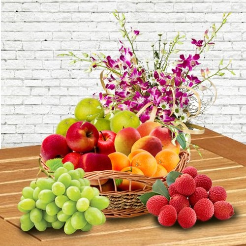 Orchid Decorated Fresh Fruits Basket for Mummy