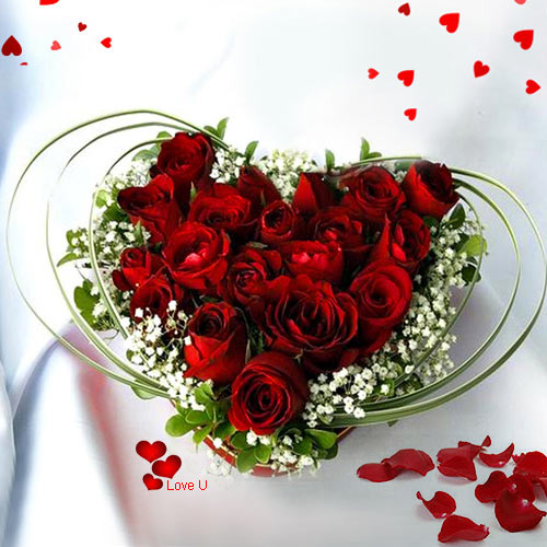 Send Dutch Roses Heart Shape Arrangement for Valentine Surprise