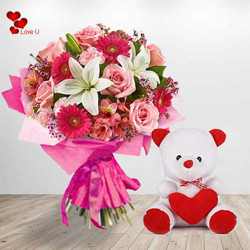 Send Floral N Teddy Basket for V Day