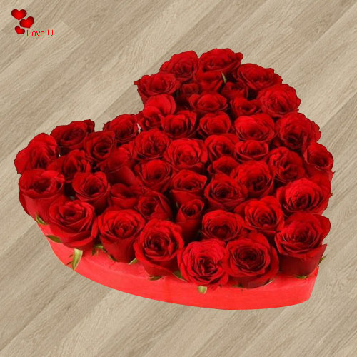 Buy Heart Shape Arrangement  of 101 Dutch Roses Online