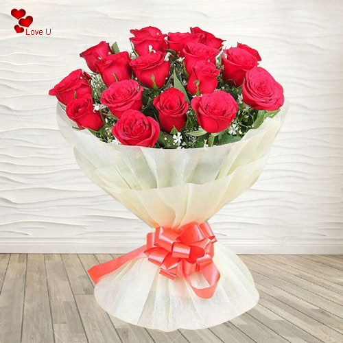 Rose Day Gift of Red Roses with Heart Shape Chocolate Box