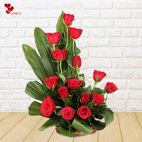 Send Dutch Roses Basket for V-day