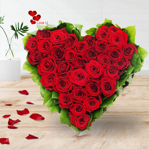 Shop Online for Red Roses Heart Bouquet for V-day