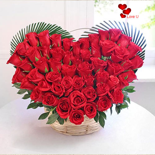Gift Red Roses in Heart Shape Online