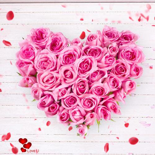 Rose Day Surprise of Heart Shape Pink Roses Arrangement