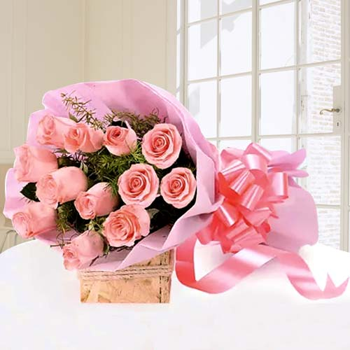 Luminous Pink Roses Bouquet of Love