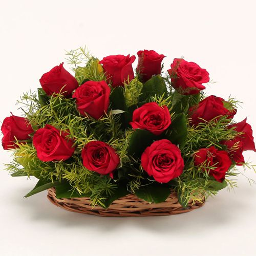 Shop Online Basket of Red Roses for Valentines Day