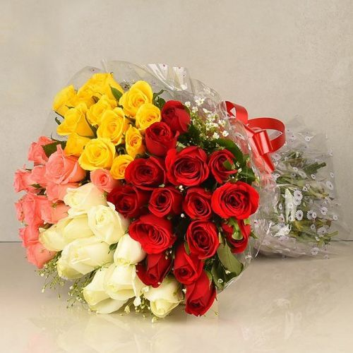 Valentines Day Gift of Mixed Roses Bouquet