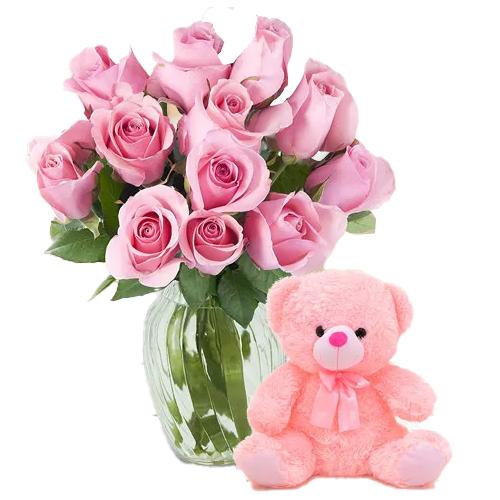Send Pink Roses N Teddy for Hug Day
