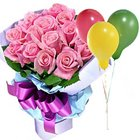 Special Pink Roses Bouquet with Balloons