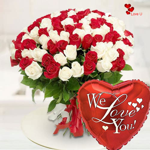 Gift Red N White Roses Bouquet Online