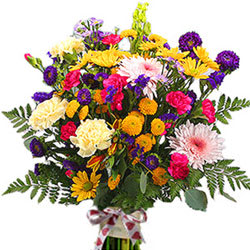 Online Deliver Mixed Flowers Bunch with Eggless Chocolate Cake