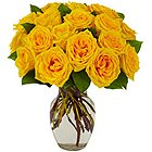 Magical Assemble of Yellow Roses in a Glass Vase