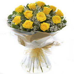 Vibrant Selection of Yellow and Red Coloured Roses in Basket