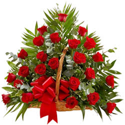 Exotic Selection of 30 Red Color Roses in a Basket