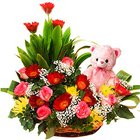 Dreamy Sweet Emotions Roses Basket with Gerberas