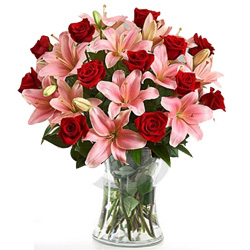 Buy Online Red Roses with Haldiram Rasgulla N Eggless Cake