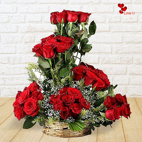 Order Online Basket Arrangement of Red Roses