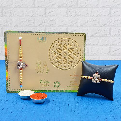 Auspicious Golden Metal Ganesh Rakhi<br>