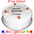 Fresh Baked Egg less Pineapple Cake 1Lbs .Filled with Soft Creams from top bakery in the city with free Gulal/Abir Pouch.