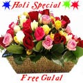 Mixed Roses nicely arranged in a Basket. with Greens and Fillers to show your Love in all Occasion with free Gulal/Abir Pouch.