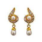 Fancy Genuine Pearl and Rhinestone Studded Pair of Earrings