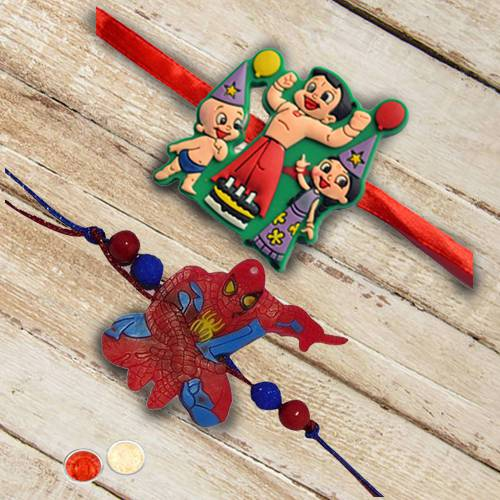 Wonderful Chota Bheem with Spiderman Rakhi for Kids