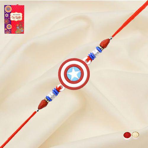 Exclusive Captain America Rakhi with Roli, Chawal n Card