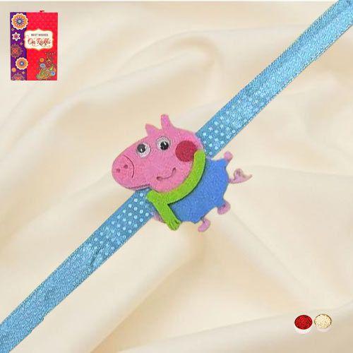 Cute Peppa Pig Kids Rakhi with Roli, Chawal n Card