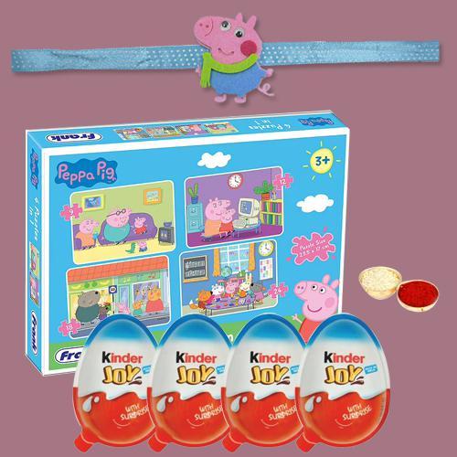Trendy Peppa Pig Rakhi with Puzzle N Kinder Joy