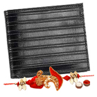 Machine Stitched Black Genuine Leather Gents Wallet from Leather Talks with Rakhi and Roli Tilak Chawal