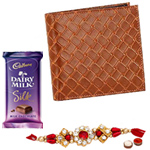 Light Brown Shaded Genuine Leather Mens Wallet from Leather Talk and Chocolates with Rakhi and Roli Tilak Chawal