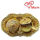 Designer Colorful Stone engraved 2pcs Golden Supari Dabbi and Tray Set