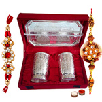 Silver plated set of  design crafted two glasses and a tray with Rakhi and Roli Tilak Chawal