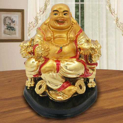 Classic Golden Laughing Buddha with Touch of Good Luck