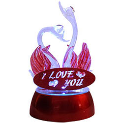 Be My Love LED Lighted Swan Couple Showpiece