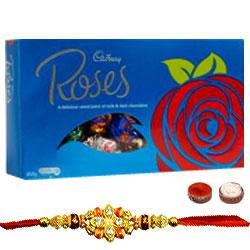 Stunning Rakhi with Cadbury Roses Chocolate
