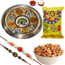 Selective Combo of 2 Rakhi With Meenakari Pooja Thali, Cashews And Soan Papdi