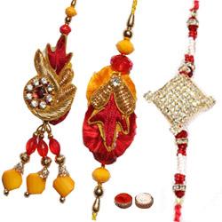 Fascinating 2 Bhaiya  Rakhi and 1 Bhabhi Rakhi Set