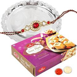 Rakhi Sweets and Silver Plated Thali