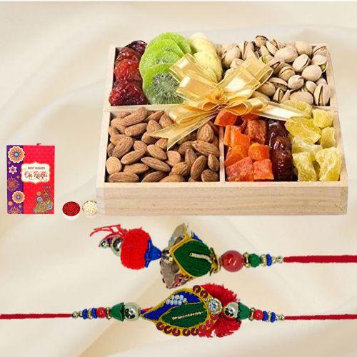 Eye Catching Lumba  N  Rakhi Set with Assorted Dry Fruits