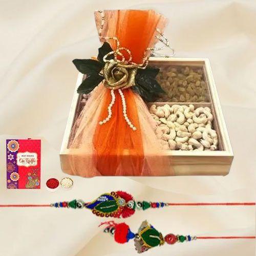 Amazing Lumba N Rakhi Set with Cashew n Raisins