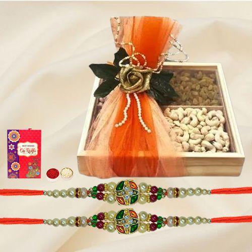 Trendy Stone Rakhi Pair with Cashew n Raisins