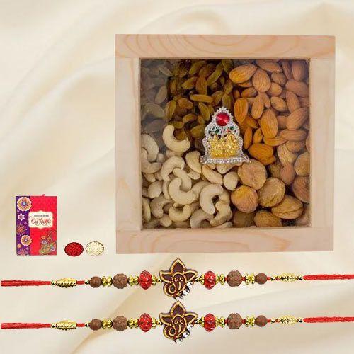 Pious Rakhi Set with Exotic Dry Fruits n Ganesh-Laxmi Mandap