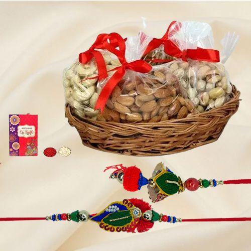 Stylish Gift of Lumba Rakhi Set with Exotic Dry Fruits Basket