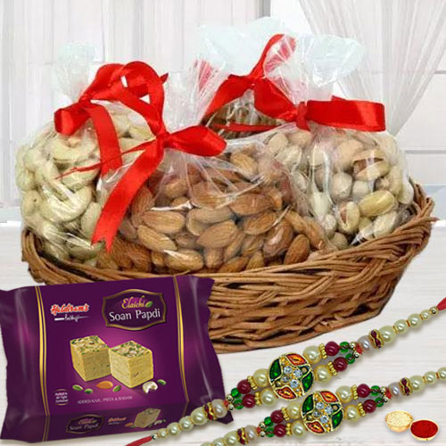 Attractive Stone Rakhi Pair with Exotic Dry Fruits n Sweets