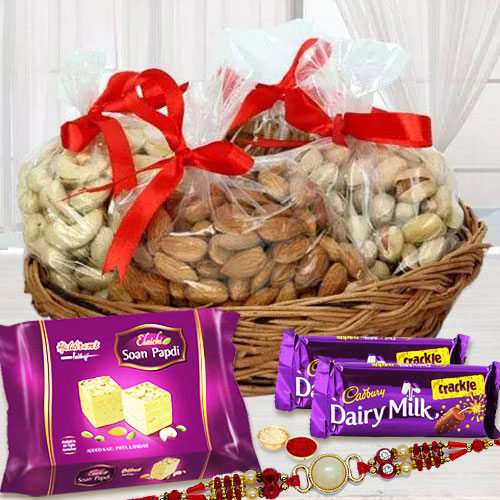Dazzling Pearl Rakhi with Assorted Dry Fruits, Chocolates n Sweets