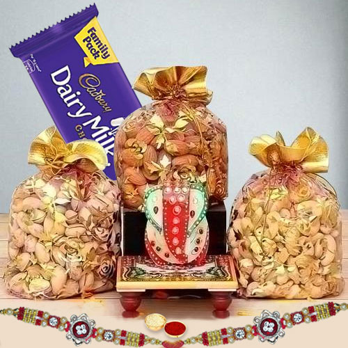 Decorative Rakhi with Dry Fruits, Cadbury Dairy Milk n Marble Ganesha