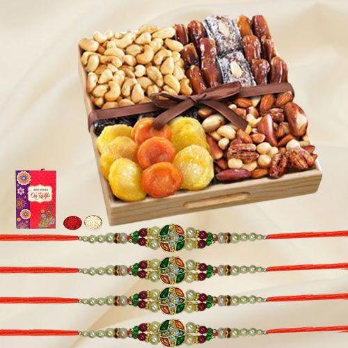 Classy Set of 4 Stone Rakhi with Assorted Dry Fruits Tray