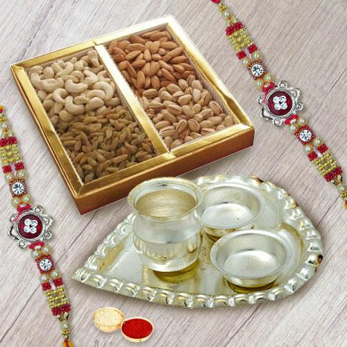 Beautiful Rakhi Set with Dry Fruits n Silver Plated Paan Shape Thali